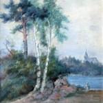 J. I. Kraszewski; Krajobraz z brzozami, olej na płótnie