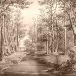 Park w Romanowie wg rysunku J. I. Kraszewskiego.